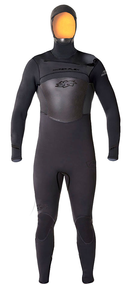 5/4/3mm Men's Hyperflex AMP Hooded Wetsuit New Aerodome! -