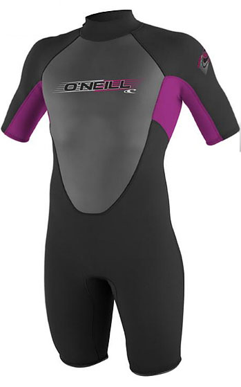 O'Neill Reactor Springsuit Junior Wetsuit Youth Kids 2mm Girls & Boys - Black/Pink