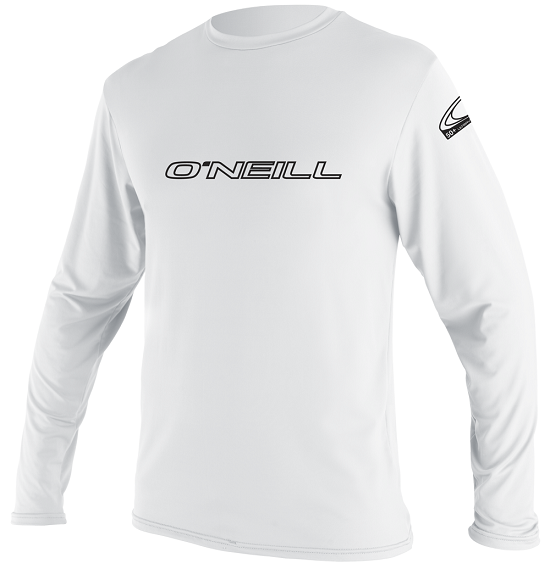 O'Neill Basic Skins Long Sleeve Men's Rashguard 50+ UV Protection - White -