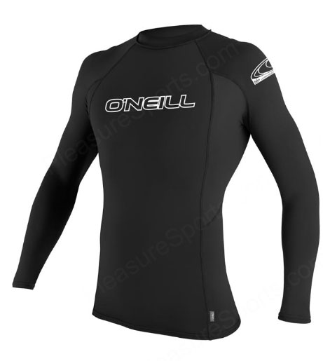O'Neill Men's Skins Rashguard Long Sleeve Rashguard 50+ UV Protection - Black