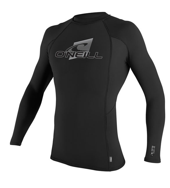 O'Neill Men's Skins Rashguard Long Sleeve Crew 50+ UV Protection - Black -