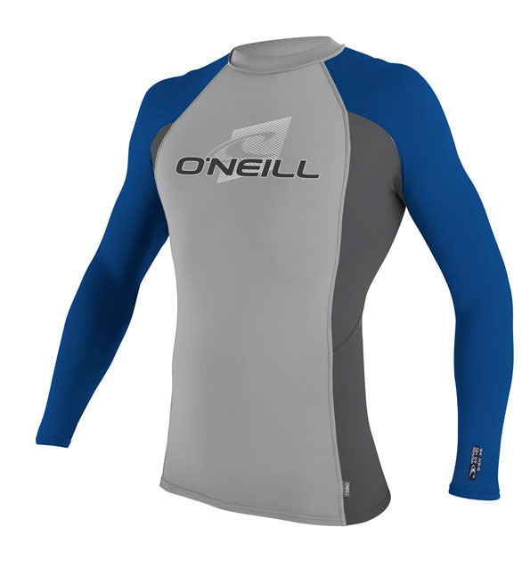 O'Neill Men's Skins Long Sleeve Crew Rashguard 50+ UV Protection - Grey Blue - 4170-V07