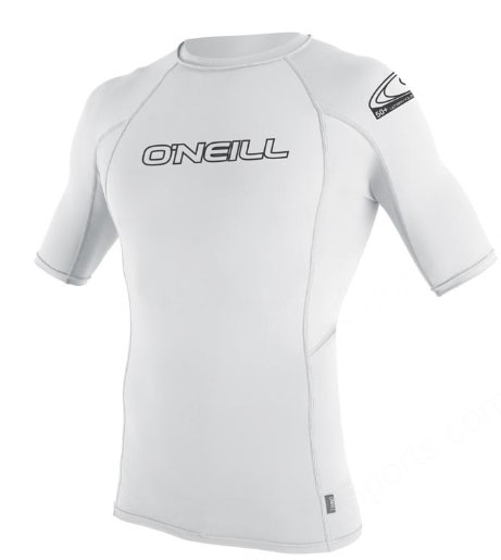 O'Neill Men's Skins Rashguard Short Sleeve 50+ UV Protection - White