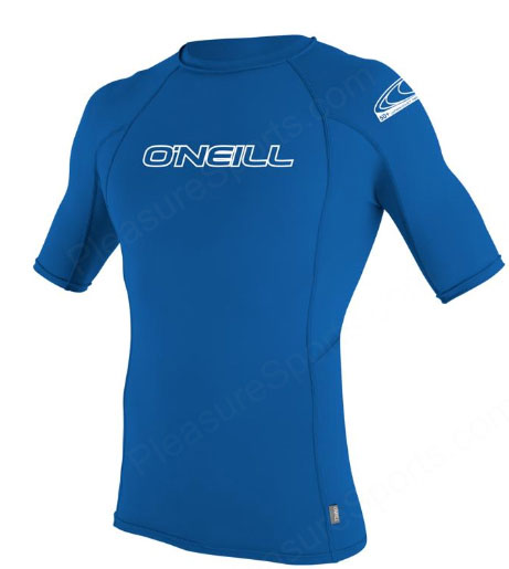 O'Neill Men's Skins Rashguard Short Sleeve 50+ UV Protection - Blue