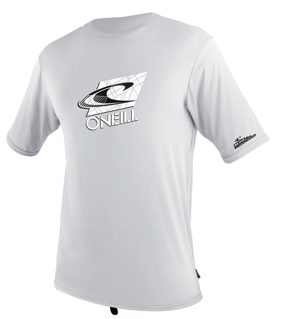 O'Neill Mens White Rashguard Loose Fit Tee Short Sleeve 50+ UV Protection