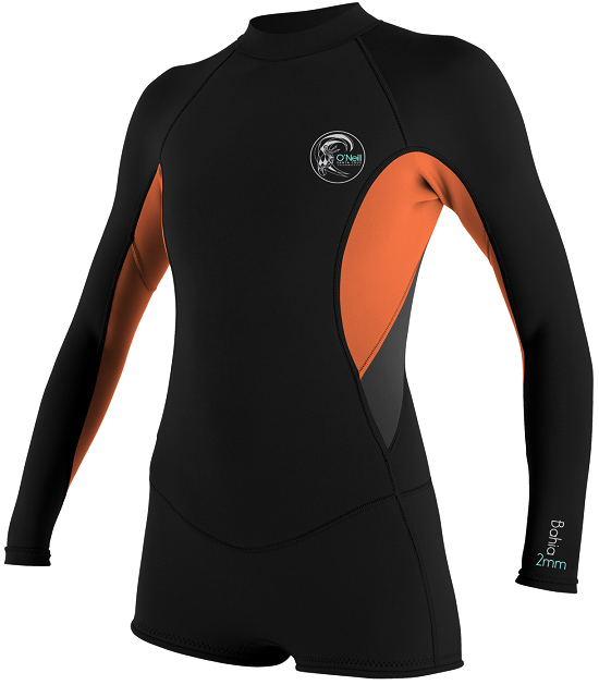 O'Neill Bahia Long Sleeve Spring Suit Springsuit 2/1mm - Black/Orange