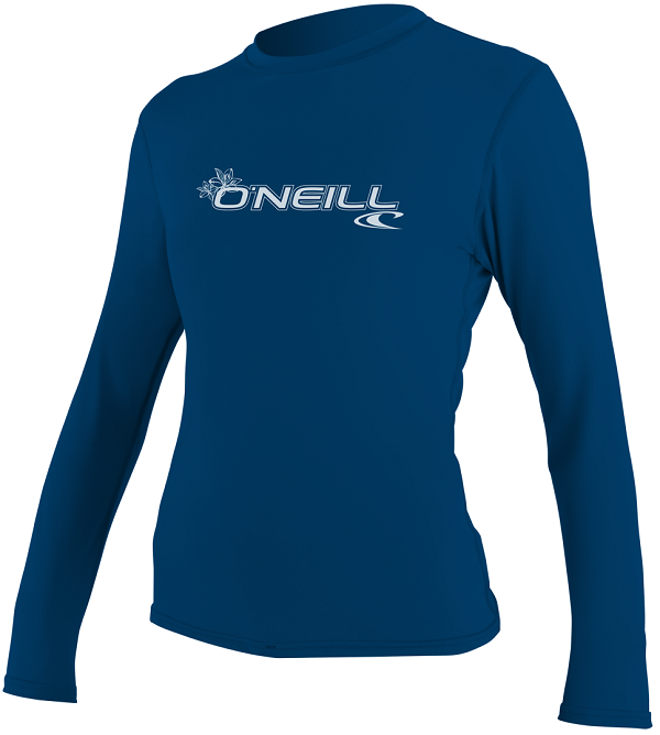 O'Neill Women's Basic Skins Rashguard Long Sleeve - 50+ UV Protection - Blue