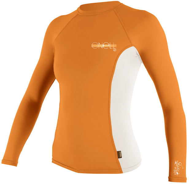 O'Neill Women's Skins Rashguard Long Sleeve Crew 50+ UV Protection - Sorbet / White -