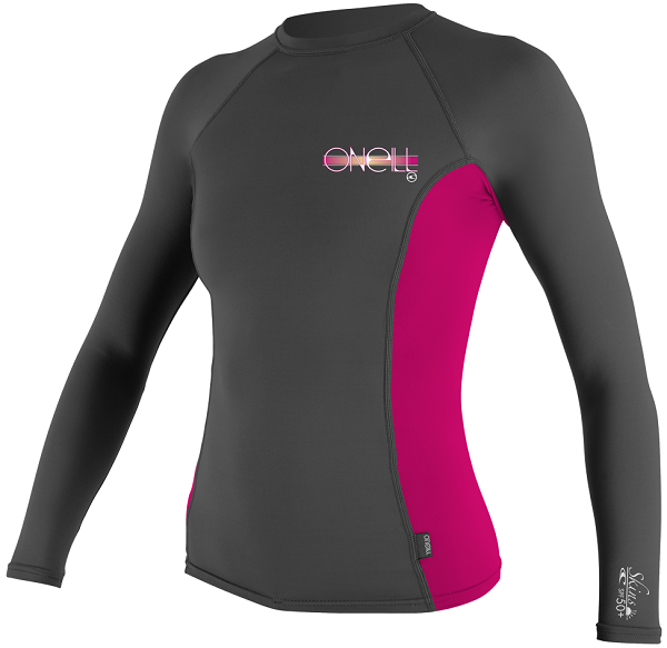 O'Neill Women's Skins Long Sleeve Crew Rashguard 50+ UV Protection - Grey/Pink