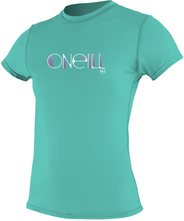 O'Neill Women's Skins Short Sleeve Rash Tee Rashguard 50+ UPF Rating - Aqua