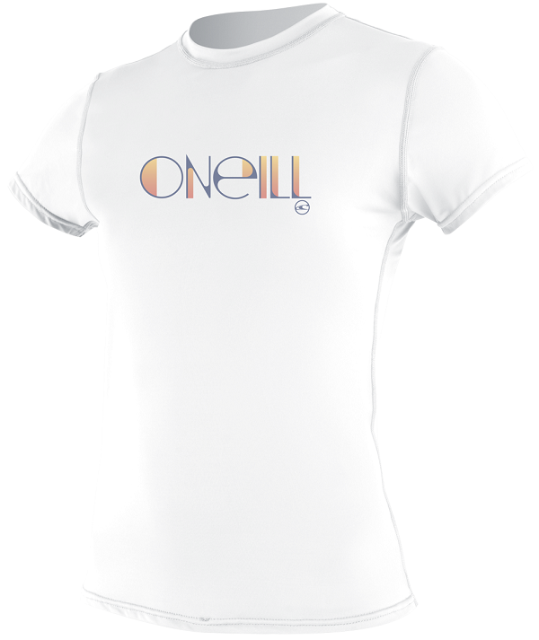 O'Neill Women's Skins Rashguard Short Sleeve Rash Tee 50+ UV Protection White