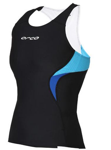 Orca Women's Core Support Singlet Tank Top - Black/River Blue