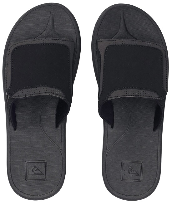 Quiksilver Fleet Slide Men's Sandal - Black/Grey - 857461-BLG