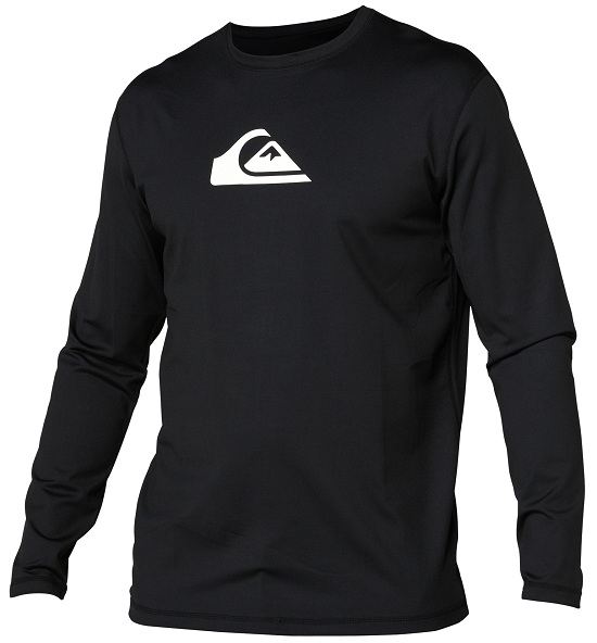 Quiksilver Solid Streak Loose Fit Men's Long Sleeve Rashguard 50+ UV Protection - Black - AQYWR00010-BKW