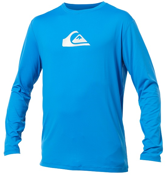 Quiksilver Solid Streak Rashguard  Loose Fit Men's Long Sleeve Rashguard 50+ UV Protection - Blue - AQYWR00010-BLU