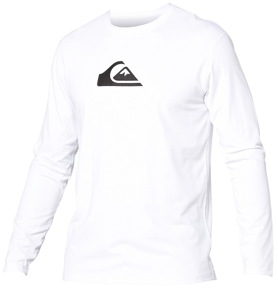 Quiksilver Solid Streak Rashguard Loose Fit Men's Long Sleeve 50+ UV Protection - White