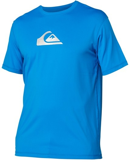 Quiksilver Solid Streak Rashguard  Loose Fit Men's Short Sleeve 50+ UV Protection - Blue