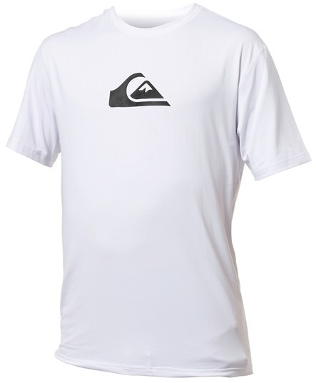Quiksilver Solid Streak Rashguard Loose Fit Men's Short Sleeve 50+ UV Protection -White - AQYWR00009-WHT
