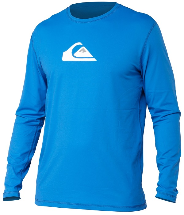 Quiksilver Solid Streak Rashguard Loose Fit Men's Long Sleeve 50+ UV Protection - Blue - AQYWR00046-BQN0