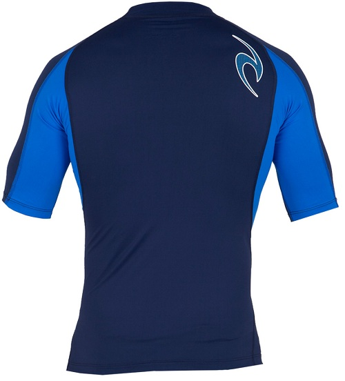 Rip Curl Men's Wave Rashguard Short Sleeve 50+ UV Protection - Navy Blue - WLUXBM-NVY