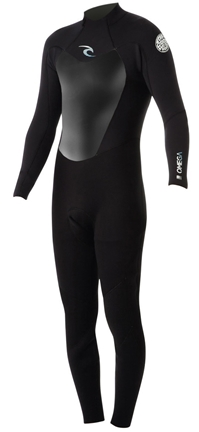 Rip Curl Omega Wetsuit Men's 3/2mm Flatlock Back Zip - Black