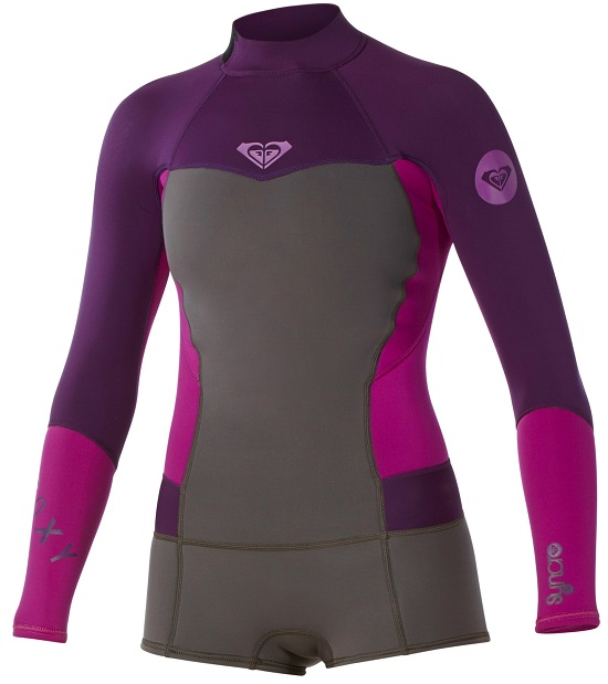 Roxy Syncro Booty Cut Spring suit Womens Long Sleeve Wetsuit - Grey/Purple
