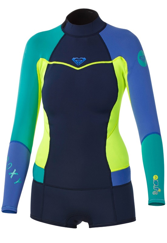 Roxy Syncro Booty Cut Spring suit Womens Long Sleeve Wetsuit - Navy/Lemon/Purple