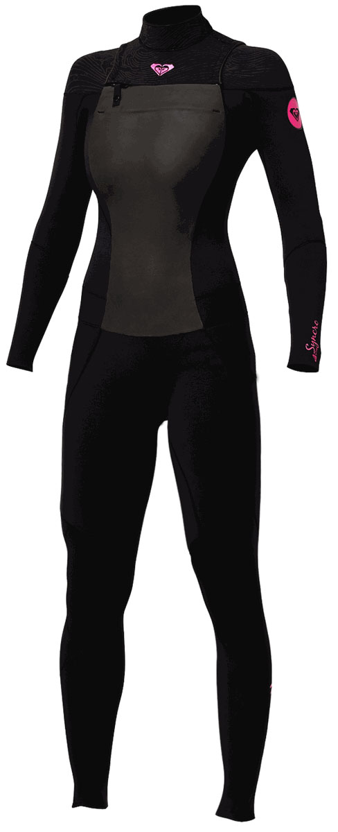 Roxy SYNCRO 3/2mm Wetsuit Chest Zip GBS Sealed Seams Super Stretch - SC309WG-BKP