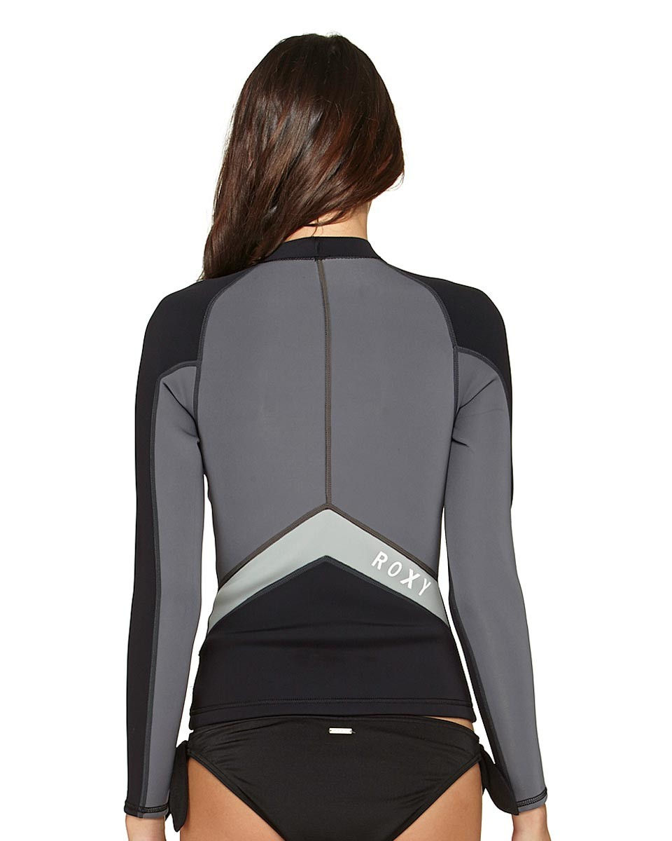 Roxy SYNCRO 1.5MM Womens Neoprene Jacket Long Sleeve Black/Grey - ARJW800005-XKSW