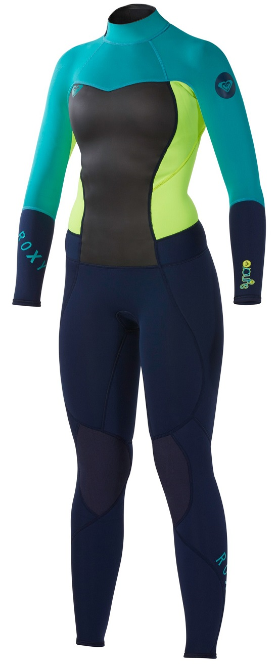 Roxy Syncro Wetsuit Women's 3/2mm Flatlock Wetsuit - Blue/Yellow/Turquoise