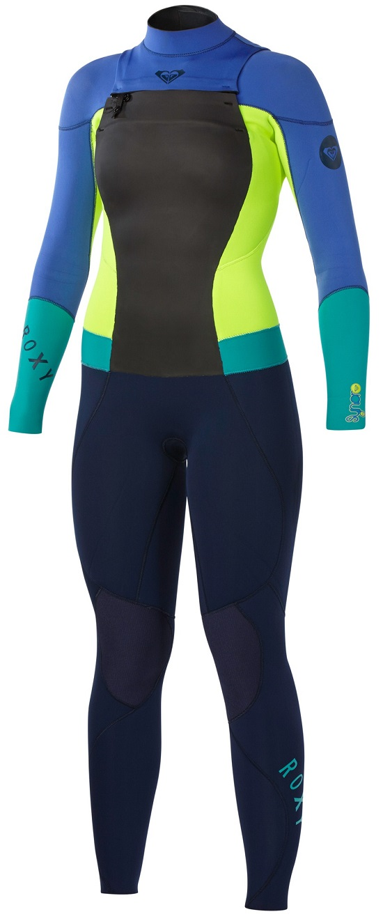Roxy Syncro Wetsuit Chest Zip 3/2mm Womens LIMITED EDITION- Blue/Yellow/Puple
