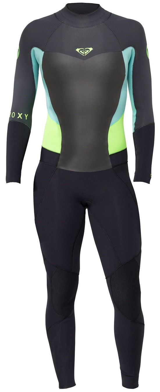 Roxy Syncro 4/3mm Women's Back Zip GBS Wetsuit - Black/Grey/Green - ARJW100003-XKGG