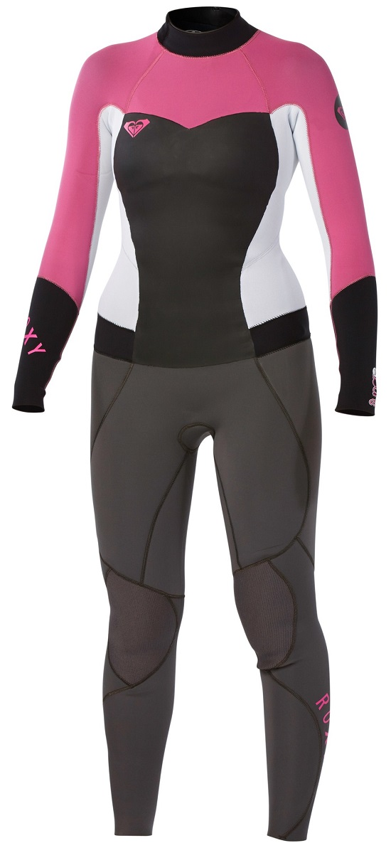 Roxy Syncro 4/3mm Women's Back Zip GBS Wetsuit - Grey/Pink/White