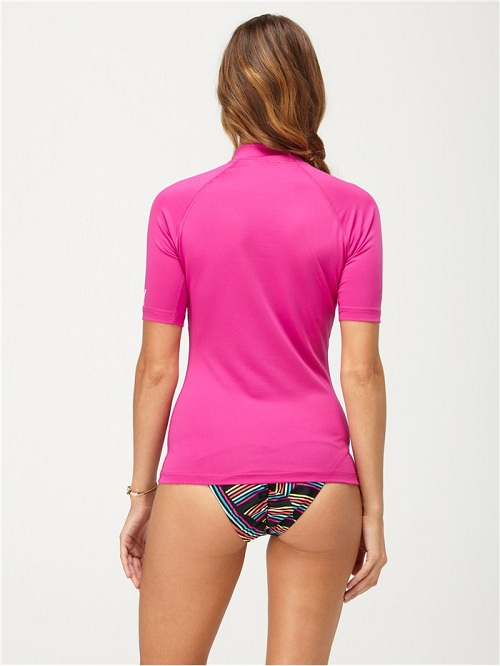 Roxy Women's Rashguard Whole Hearted Short Sleeve 50+ UPF - PINK - AQJWR00001-PNK