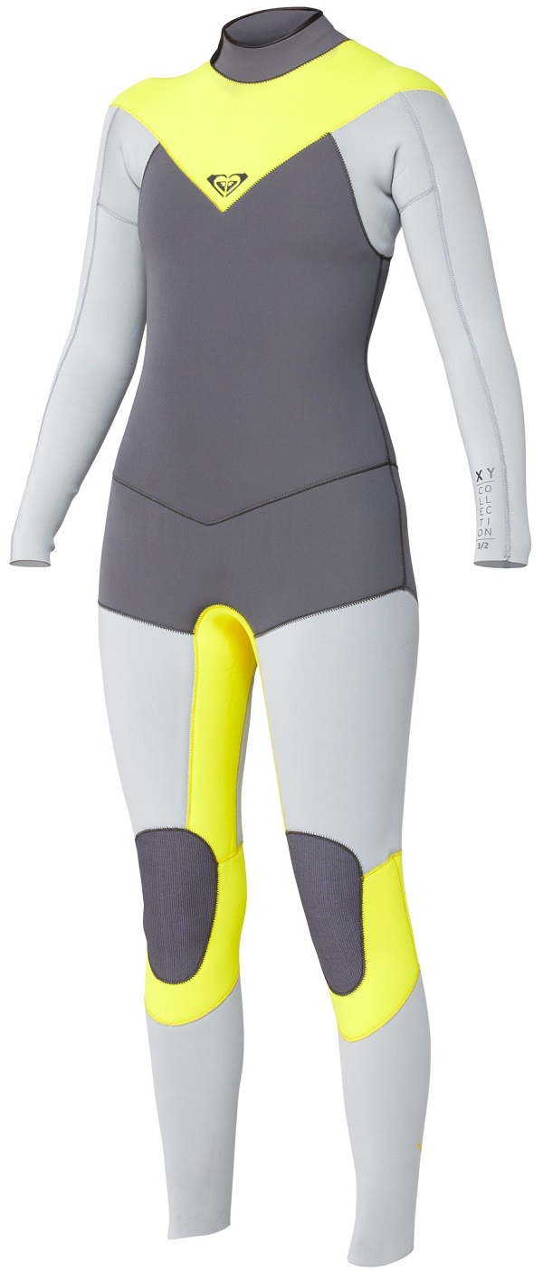Roxy XY Wetsuit 3/2mm GBS Sealed Seamed Full Back Zip - LIMITED EDITION - Grey/Yellow