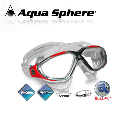 Aqua Sphere Vista Mask Black/Red - 172630-Red