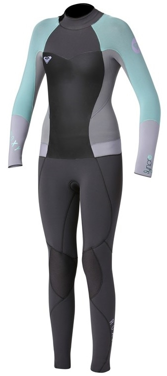 Roxy 3/2mm Syncro Girls Wetsuit 3/2mm Flatlock-Grey/Light Blue