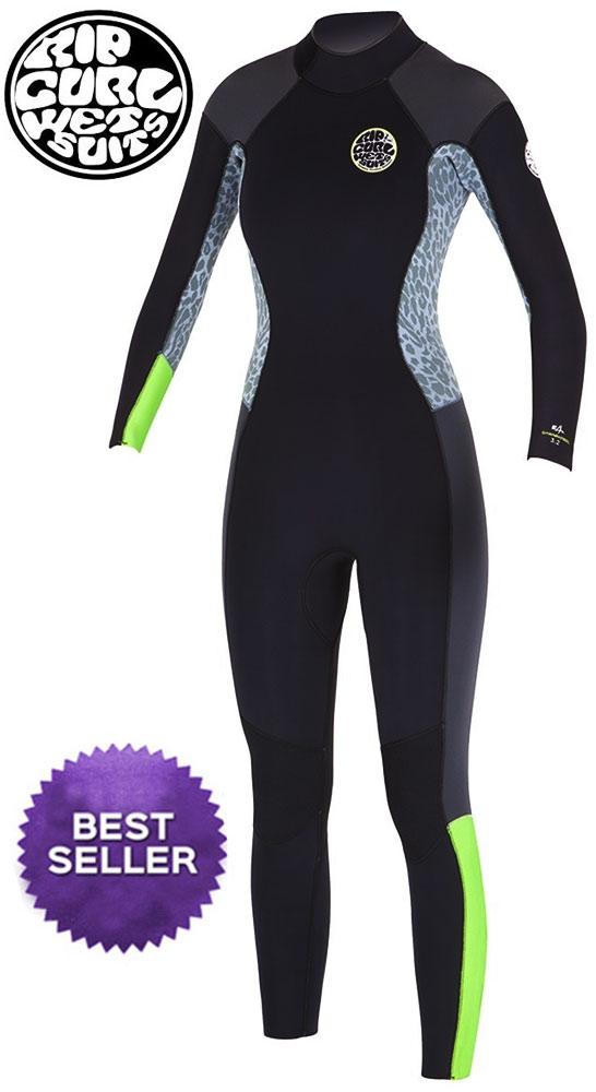 48ddfae816 Rip Curl Dawn Patrol Wetsuit Women's 4/3mm Back Zip Wetsuit -  Black/Grey/Lemon