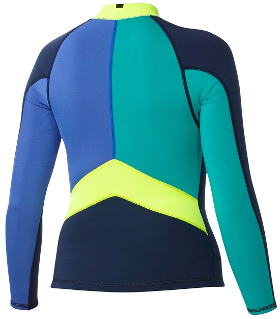 238664989556 Roxy Syncro Wetsuit Jacket 1.5mm Long Sleeve LIMITED EDITION - Blue - Green  - Yellow