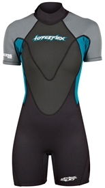 2.5mm Women's Hyperflex ACCESS Back Zip Springsuit  - Black/Teal