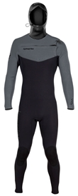 5/4mm Hyperflex VYRL Mens Hooded Wetsuit - Chest Zip- Black/Grey