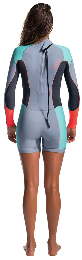 Rip Curl Dawn Patrol 2mm Back Zip Spring Shorty Wetsuit Turquoise Sleeve Seam