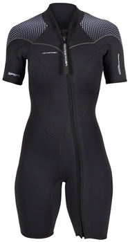 3mm Womens Henderson Thermoprene Pro Shorty Springsuit wetsuit - Front Zip - PLUS SIZES